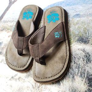 Reef flip flops leather size 7